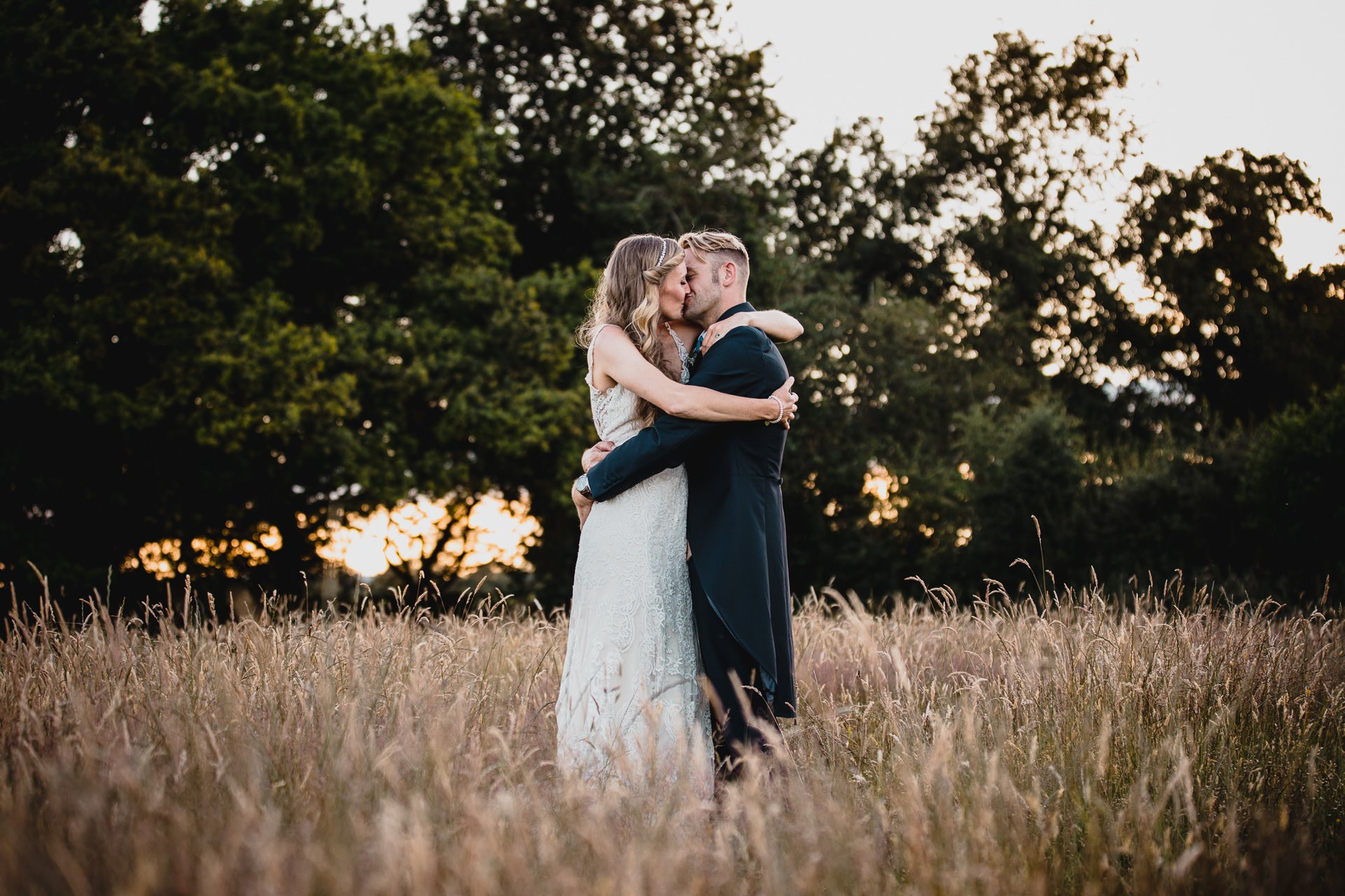 Wedding Couple in a field in Cheshire